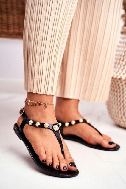 Dámske ploché sandále farba čierna kód obuvi 668 BLACK