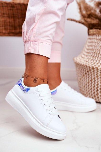 Dámske tenisky farba biela kód obuvi F58-1 WHITE/BLUE