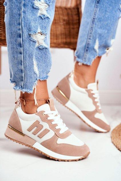 Dámske tenisky farba hnedá kód obuvi TCYR-32 WHITE/BEIGE