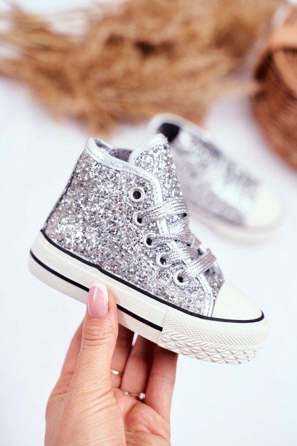 Detské tenisky farba sivá kód obuvi 80092 SILVER