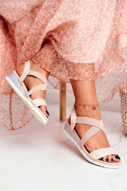Dámske sandále na platforme farba hnedá kód obuvi NS116 NUDE