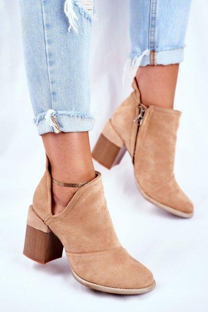 Členkové topánky na podpätku farba hnedá kód obuvi A5700-63 KHAKI