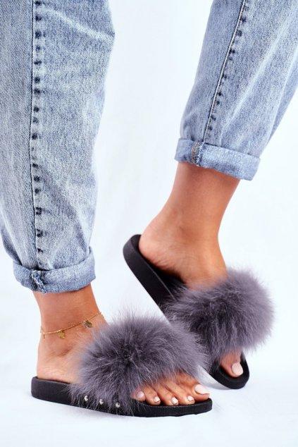 Dámske šľapky farba sivá kód obuvi W2018 GRAY