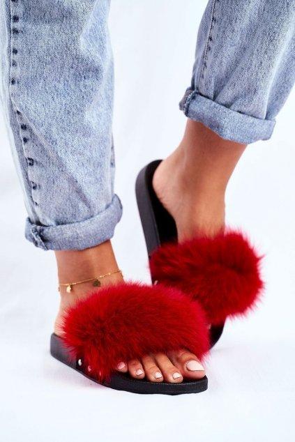 Dámske šľapky farba červená kód obuvi W2018 RED