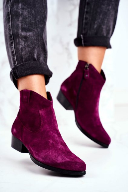 Členkové topánky na podpätku farba fialová kód obuvi 04289-05/00-3 VIOLET