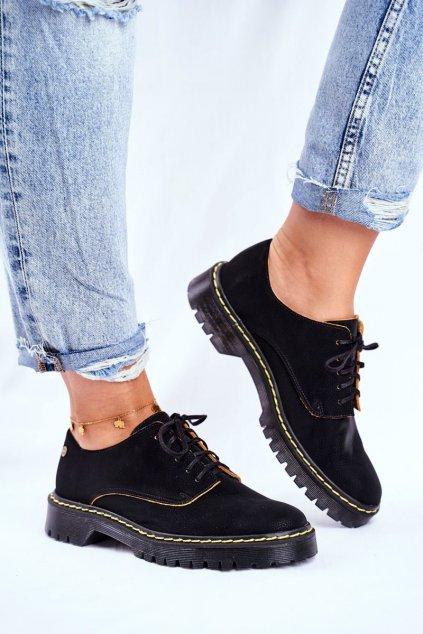 Dámske poltopánky farba čierna kód obuvi 04087-01/00-5 CZARNY ŻÓŁTA KRAWĘDŹ