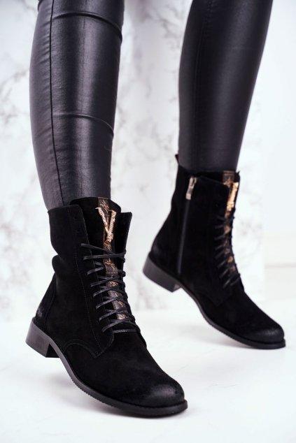 Členkové topánky na podpätku farba čierna kód obuvi 2593 BLK 028