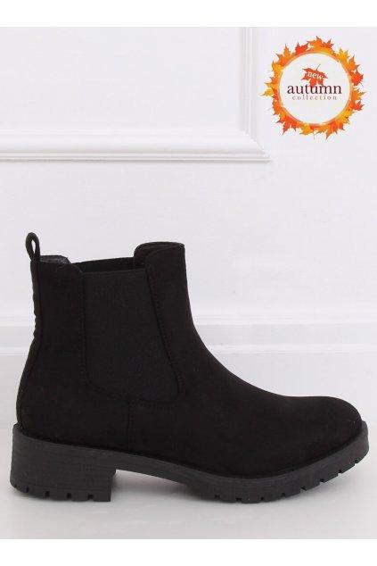 Dámske členkové topánky čierne na plochom podpätku JY2000