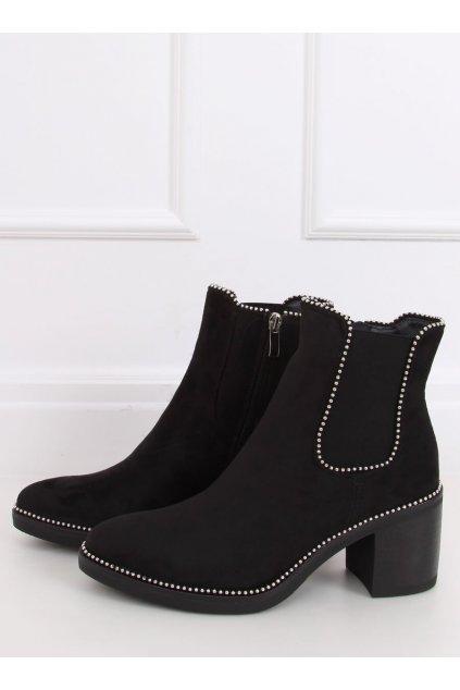 Dámske členkové topánky čierne na širokom podpätku 15672