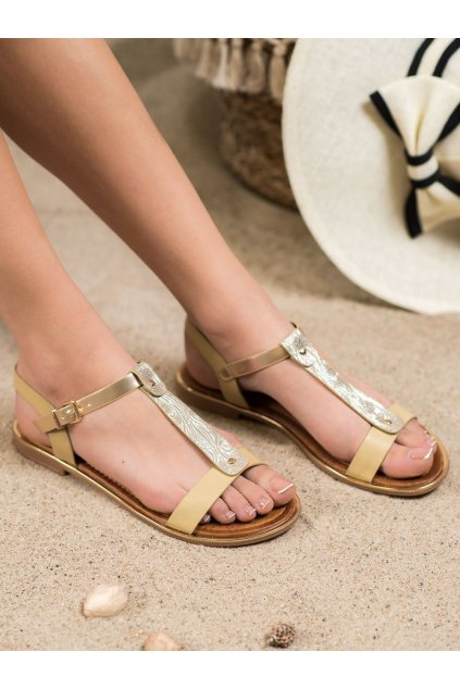 Hnedé sandále Small swan NJSK FJ53BE