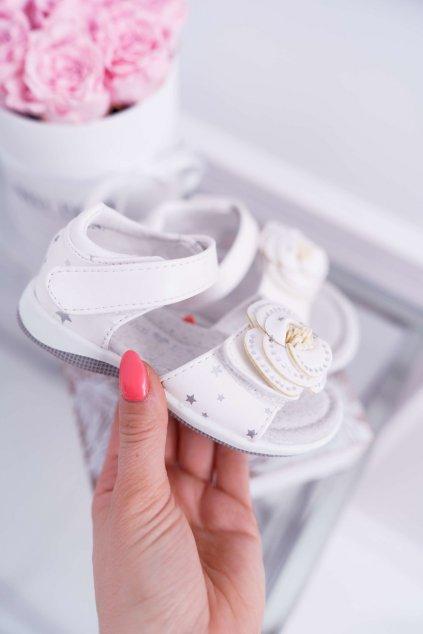 Detské Sandále pre dievčatá na suchý zips biele Flamenko NJSK 9DZ60-0947