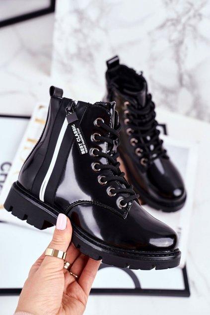 Detské členkové topánky farba čierna kód obuvi 21-16209 BLK