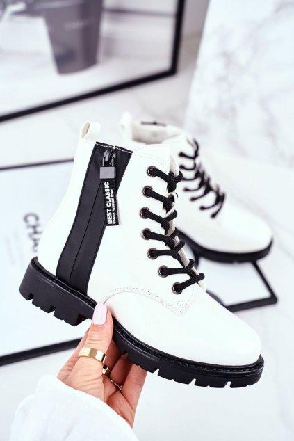 Detské členkové topánky farba biela kód obuvi 21-16209 WHITE