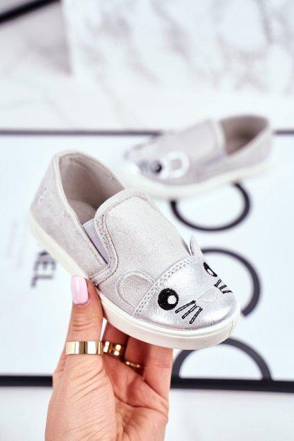 Detské tenisky farba sivá kód obuvi G1209LD-1 SILVER/L.GREY