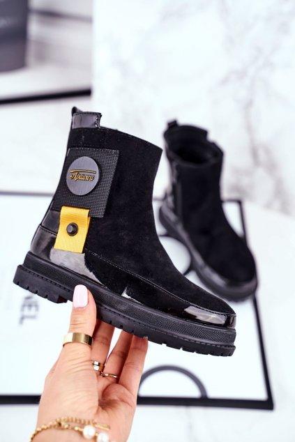 Detské členkové topánky farba čierna kód obuvi DQ79 BLK