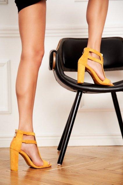 Dámske Sandále na podpätku Semišové žlté Folly NJSK LE070
