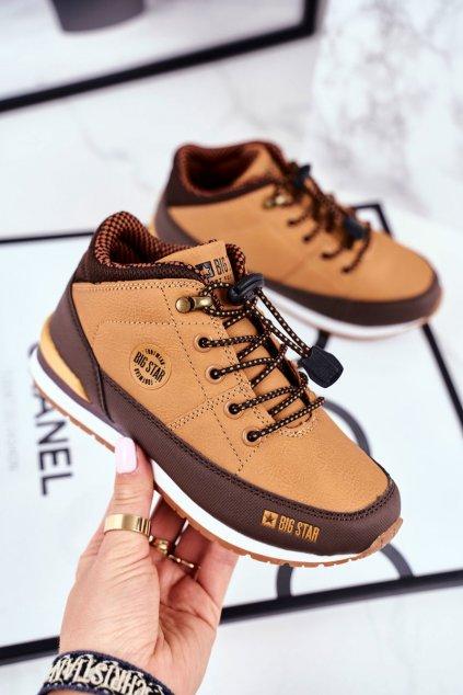 Detské členkové topánky farba hnedá kód obuvi GG374102 CAMEL