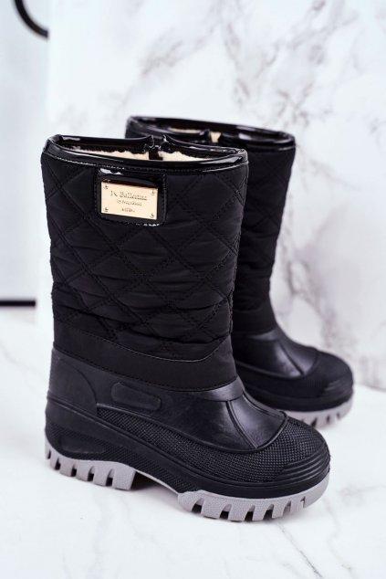 Detské členkové topánky farba čierna kód obuvi D102 BLK