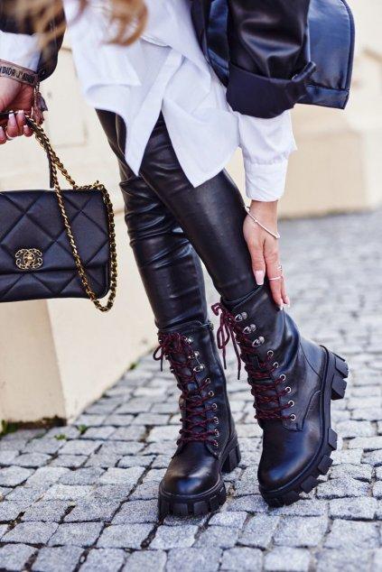 Členkové topánky na podpätku farba čierna kód obuvi 837-20 BLK