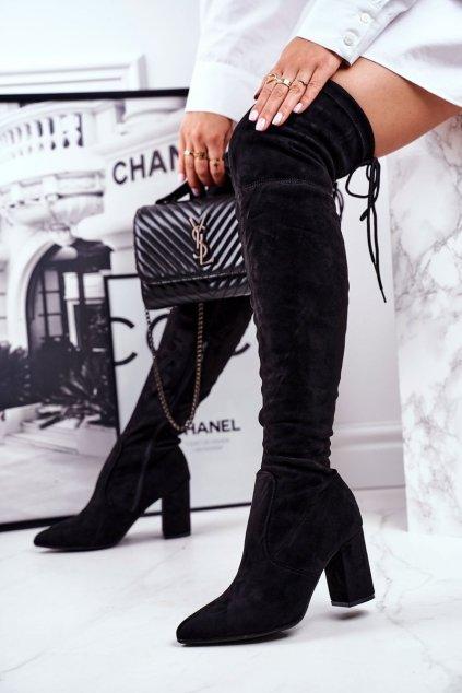 Dámske čižmy farba čierna kód obuvi HX25 BLK