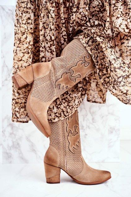 Členkové topánky na podpätku farba hnedá kód obuvi 1175 BEIGE