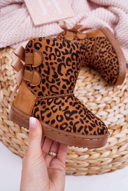 Detské členkové zimné topánky s kožušinou Leopard Fiona NJSK 20230