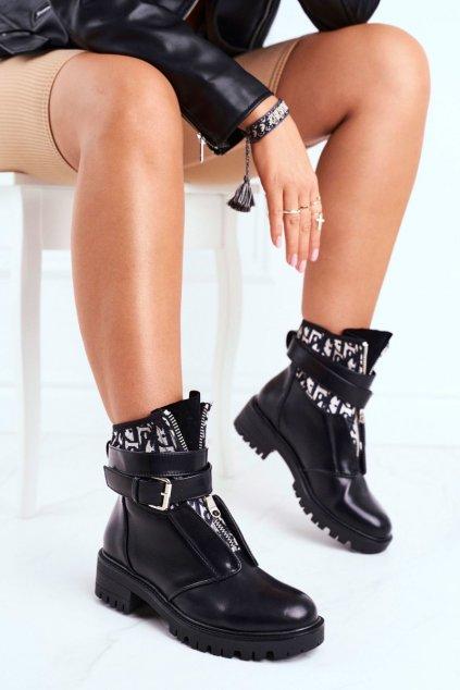 Členkové topánky na podpätku farba čierna kód obuvi NC1051 BLK