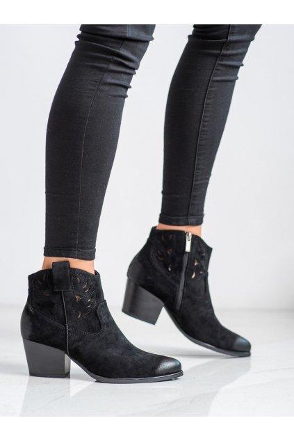 Čierne dámske topánky Vinceza kod XY21-10540B