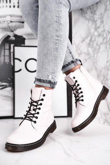 Členkové topánky na podpätku farba biela kód obuvi 20BT35-3001 WHITE LAC