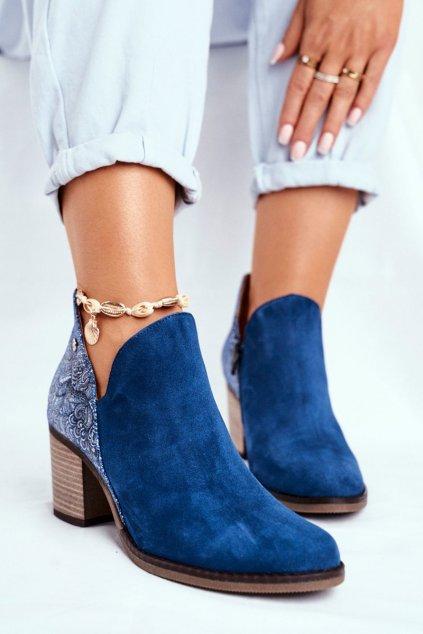 Dámske členkové topánky na podpätku jarné Majka Kožené tmavo modré NJSK 04492-17