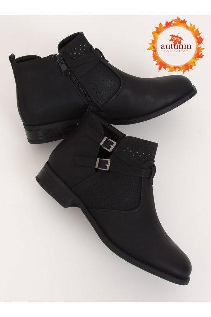 Dámske členkové topánky čierne na plochom podpätku NJSK CH2003
