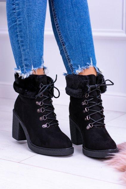 Dámske čierne členkové topánky s kožešiny Influence NJSK HJ88-50