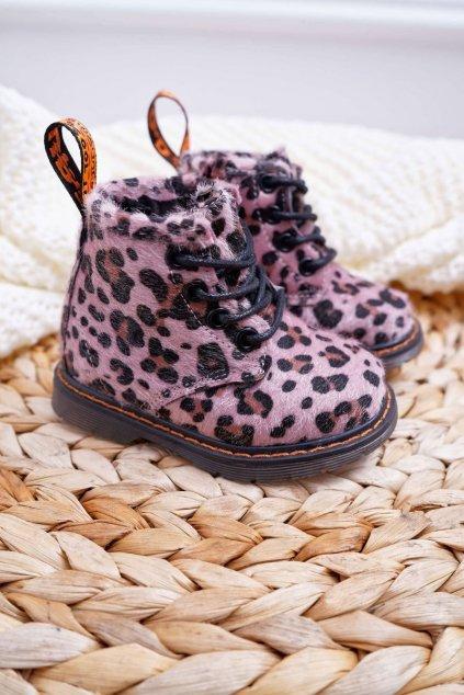 Detské topánky so zipsom Ružové Leopard Lilo NJSK 20319