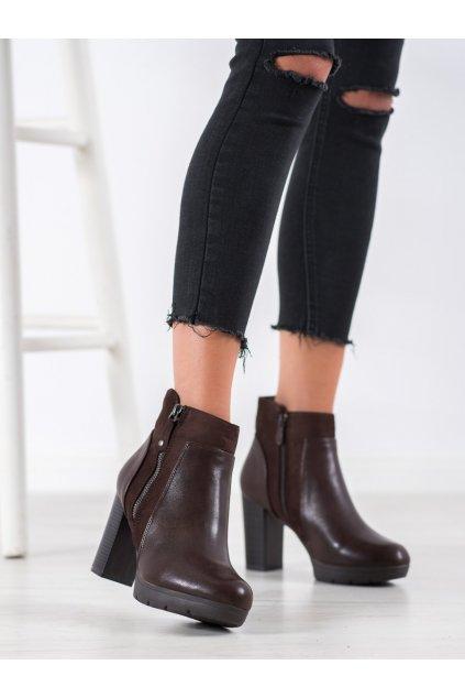 Hnedé dámske topánky Weide NJSK Q320BR