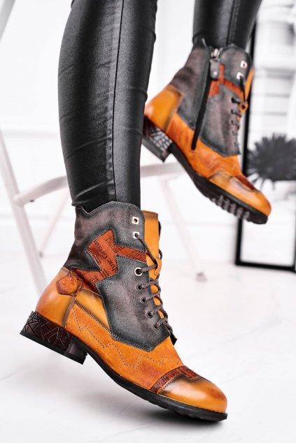 Členkové topánky na podpätku farba žltá kód obuvi 04625-07/00-3 YELLOW