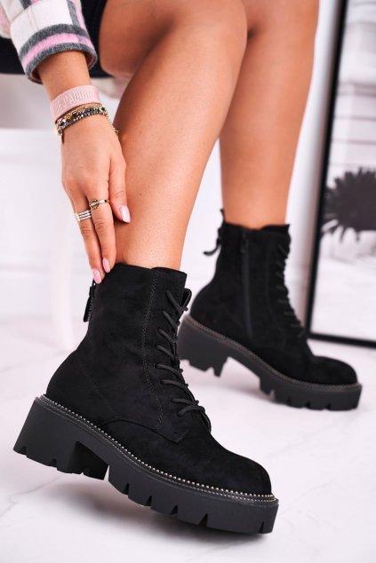 Členkové topánky na podpätku farba čierna kód obuvi UK13 BLK