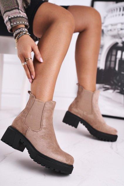 Členkové topánky na podpätku farba hnedá kód obuvi NS158 BEIGE