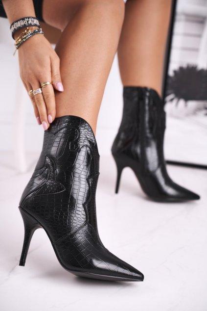 Členkové topánky na podpätku farba čierna kód obuvi RB75 BLK