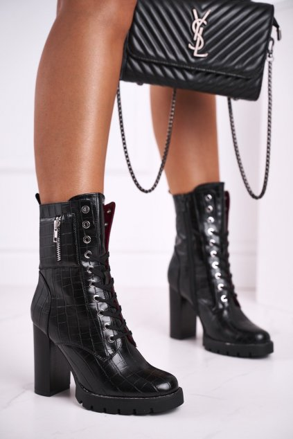 Členkové topánky na podpätku farba čierna kód obuvi M530 BLK STONE