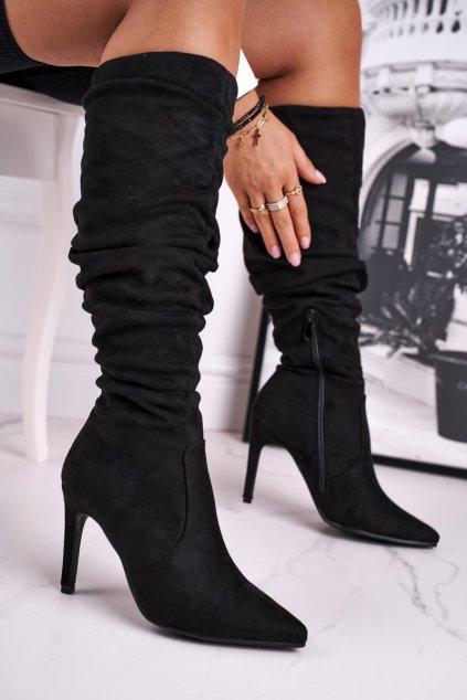 Dámske čižmy farba čierna kód obuvi BM217 BLK
