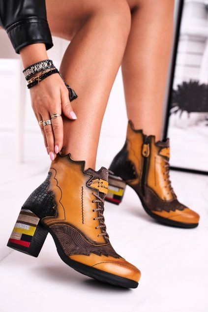 Členkové topánky na podpätku farba sivá kód obuvi 03190-07/00-3 YELLOW