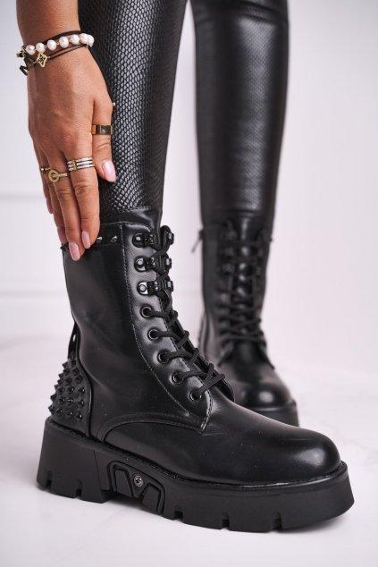 Členkové topánky na podpätku farba čierna kód obuvi LA-160 BLK