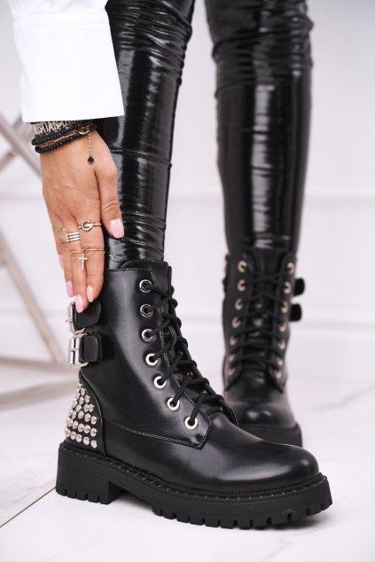 Členkové topánky na podpätku farba čierna kód obuvi LA-165 BLK