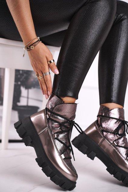Členkové topánky na podpätku farba sivá kód obuvi CB-19180 GUN