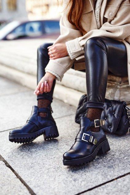 Členkové topánky na podpätku farba čierna kód obuvi RXJ35 BLK