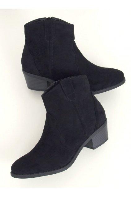 Dámske členkové topánky čierne na širokom podpätku 99-63