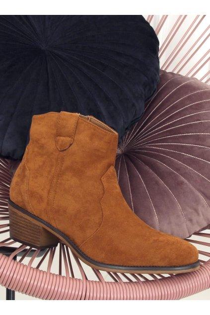 Dámske členkové topánky hnedé na širokom podpätku 99-63