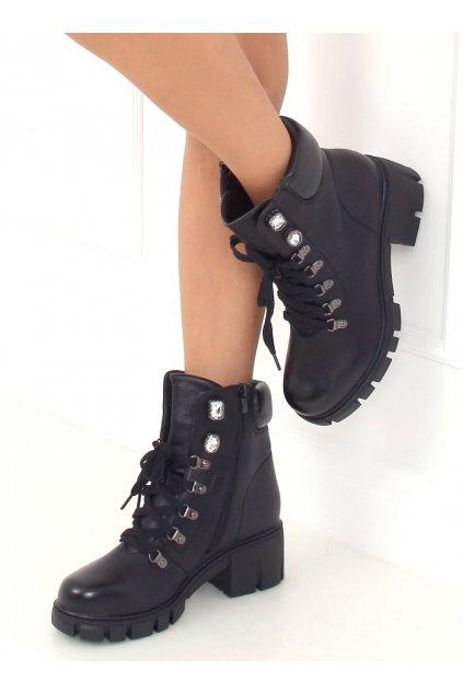 Dámske členkové topánky čierne na širokom podpätku TX-1870