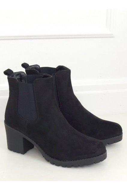 Dámske členkové topánky čierne na širokom podpätku W355