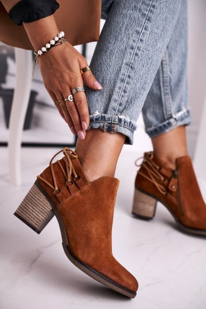 Členkové topánky na podpätku farba hnedá kód obuvi 04812-29/00-5 GINGER
